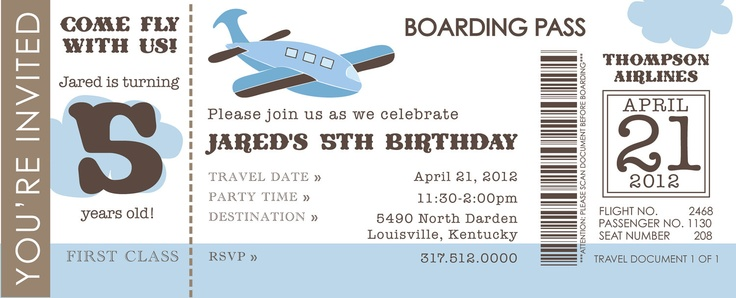 Airline Ticket Invite Bday partaaaaay ideas for my M man - printable ticket invitations