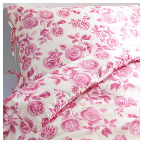 emelina ros duvet quilt cover french floral pink roses by ikea