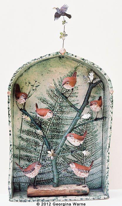 georgina warne . winter huddle . ceramic and mixed media
