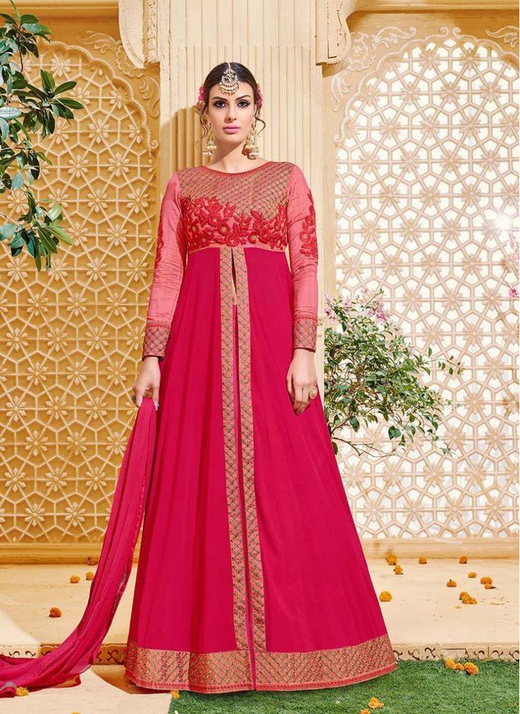 Sterling Hot Pink Georgette Floor Length Anarkali Suit