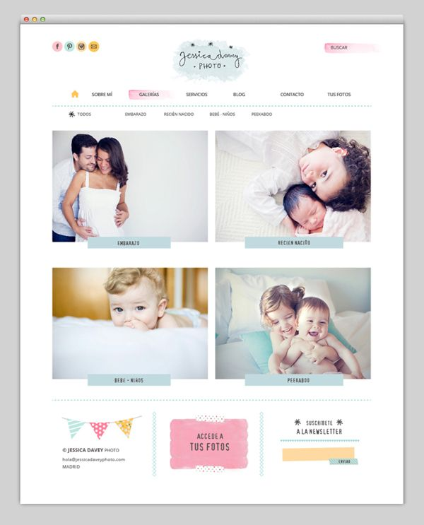 Jessica Davey on Behance http://www.jessicadaveyphoto.com/?ap=galerias  I absolutely love this website. There's a lot of creativity. This website is perfect for mothers and those who are expecting. The watercolors gives a playful touch -- it feels almost like a nursery room. The light pastel colors are touching and heartfelt. This website truly highlights the photographer's artistic capabilities. Overall, it is very cute and leaves me with a warm, nice feeling. :)   -Priscilla