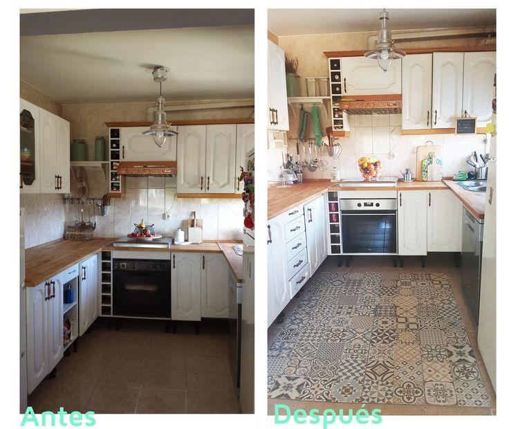 Antes y después de una cocina, renovada con baldosas tipo hidráulico a modo de alfombra