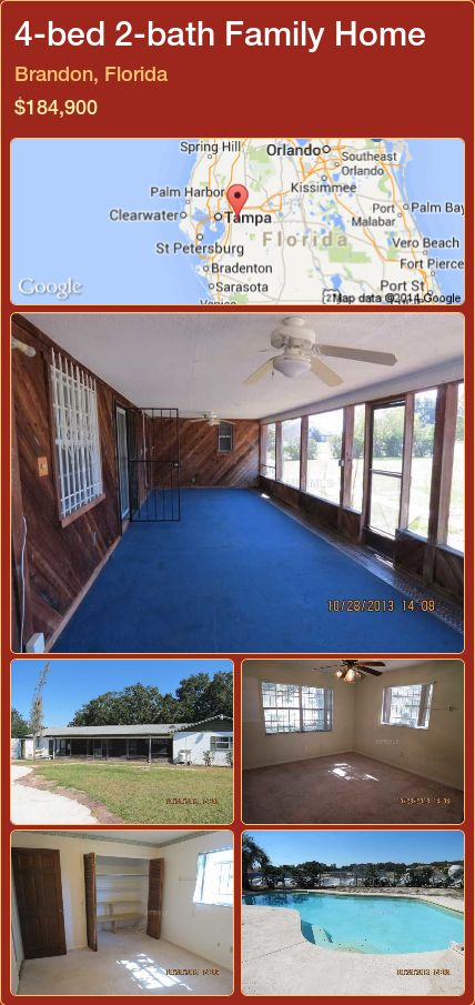 4-bed 2-bath Family Home in Brandon, Florida ►$184,900 #PropertyForSaleFlorida http://florida-magic.com/properties/67307-family-home-for-sale-in-brandon-florida-with-4-bedroom-2-bathroom