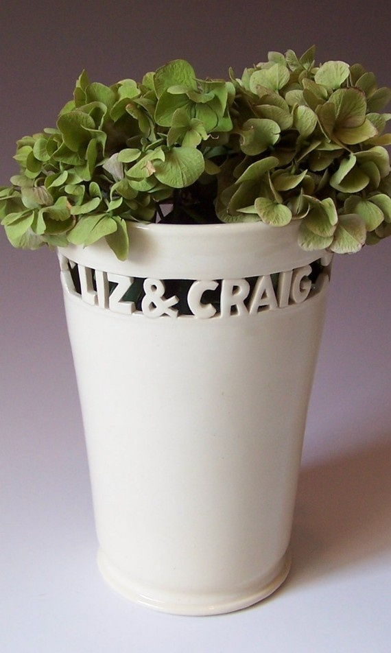 Personalized Gift Vase for Wedding or Anniversary by MaidOfClay on ...