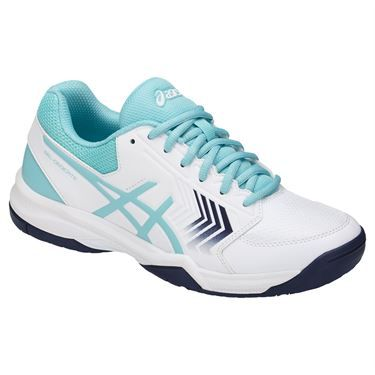 The Asics Gel Dedicate 5 Women's Tennis Shoe, in a white and porcelain blue  colorway