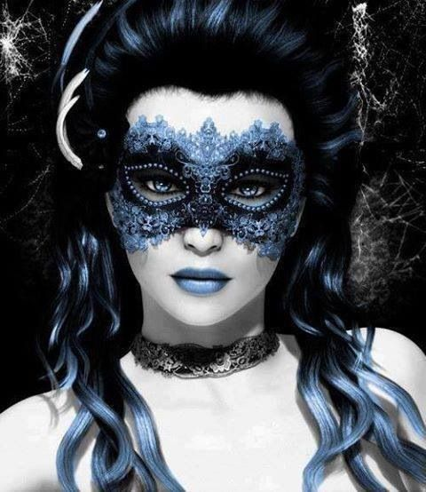 see how the blacks and powder matte blues work well together in this image of hair and makeup ????