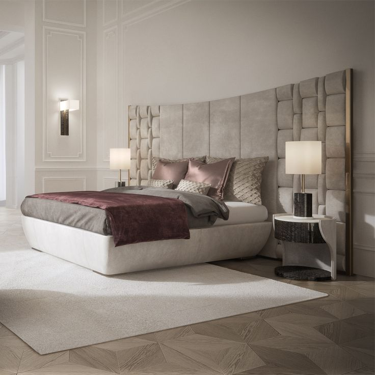 Contemporary Italian Bed Large Luxury Leather Headboard Luxurious Bedrooms Linens