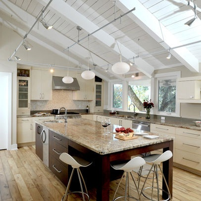 Modern Kitchen Photos Sloped Ceiling Lighting Design Ideas, Pictures,  Remodel, and Decor -