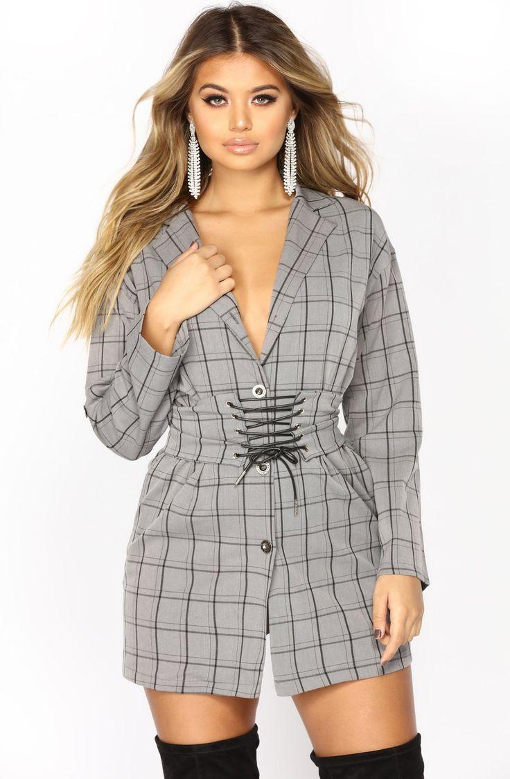 Private Eye Plaid Shirt Dress - Grey