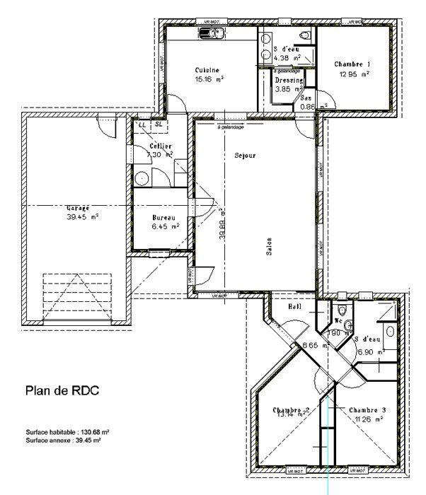 Plan 3 chambres bureau