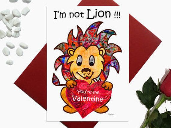 Valentines day card  Lion  I'm not lion  Cute Lion