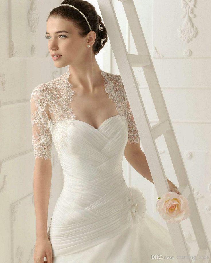 Wholesale Bridal Wraps & Jackets - Buy Aire Barcelona 2014 Lace Short Sleeve Wedding Jackets Wraps Elegant Bridal Bolera Jackets Capelet Wed...