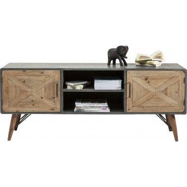 Sobre et fonctionnel, ce joli meuble séduira les amoureux du design industriel et vintage.  Meuble TV X Factory 2 portes Kare Design