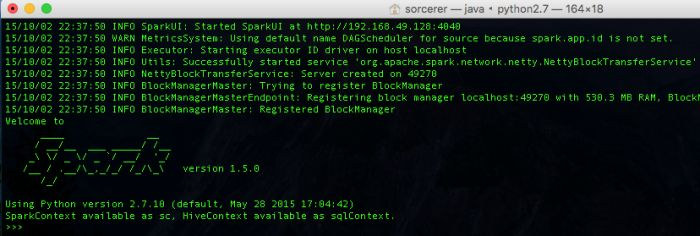 Installing Spark & IPython on Mac OSX : STEP 1:To use Spark on Hadoop first install hadoop Installing Hadoop on OSX (El-Capitan)If not already then install HomeBrew STEP 2:Then Install Spark  $ brew install apache-spark  installs Spark to directory/usr/local/Cellar/apache-spark/1.5.