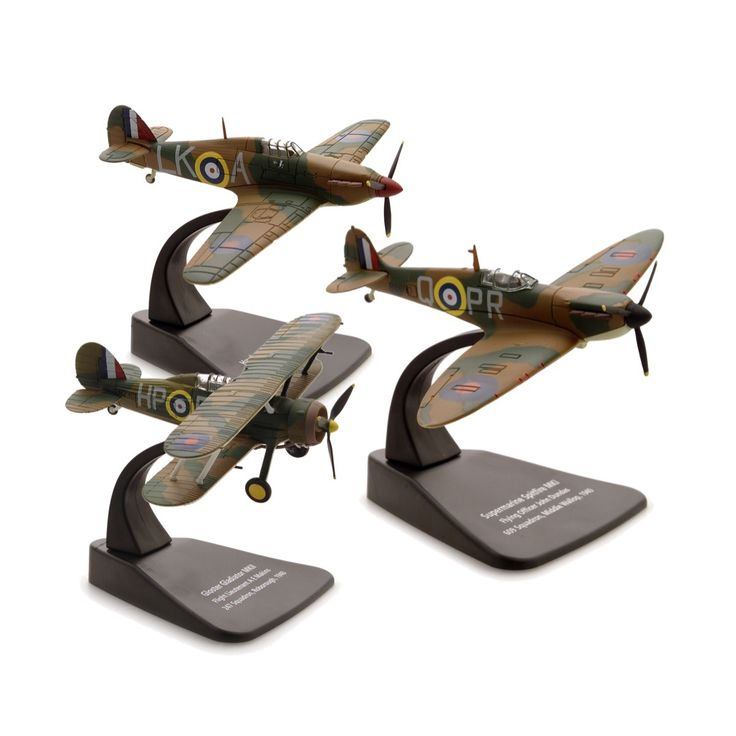 2015 commemorates the 75th Anniversary of one of the pivotal series of events of the Second World War. We remember this period in our history with this three-piece set of 1:72 scale aircraft. Firstly comes the Gloster Gladiator MKII, then the iconic Spitfire MkI, as flown by Flying Officer John Dundas of 609 Squadron. Finally the Hurricane MkI modelled on the aircraft piloted by Flight Lieutenant I R Gleed of 87 Squadron.