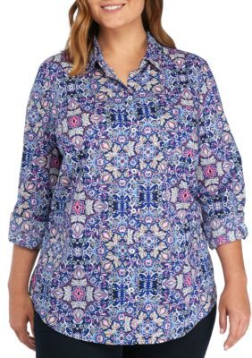 Kim Rogers Women's Plus Size Cambric Medallion Print Roll Sleeve Shirt - Blue Combo - 2X