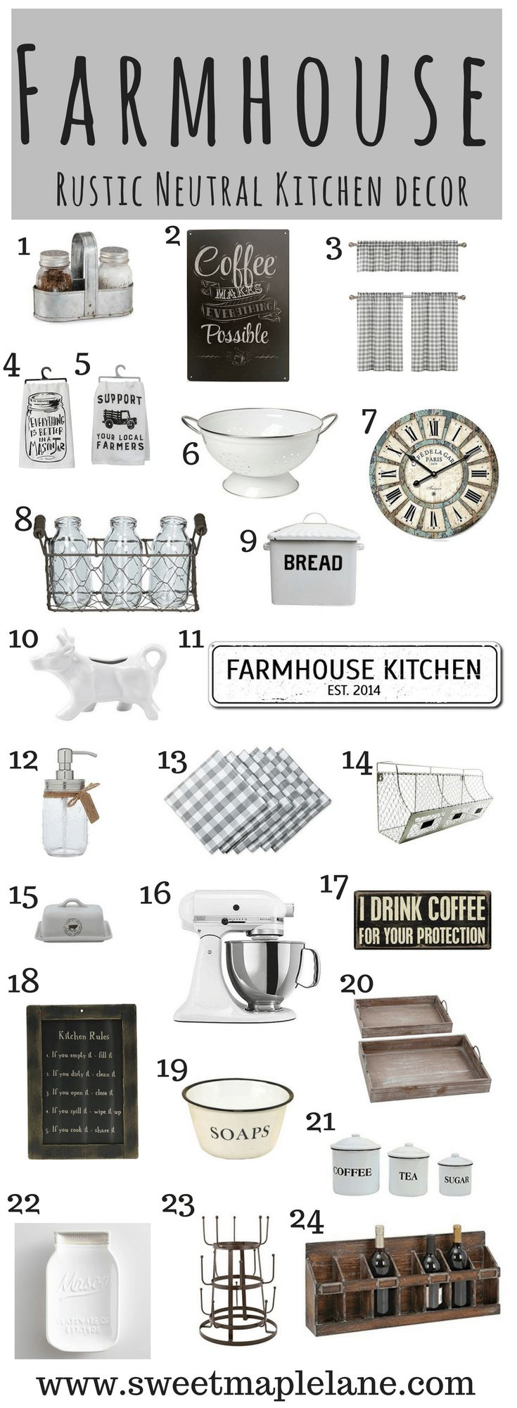 The ultimate list of rustic neutral farmhouse kitchen decor!