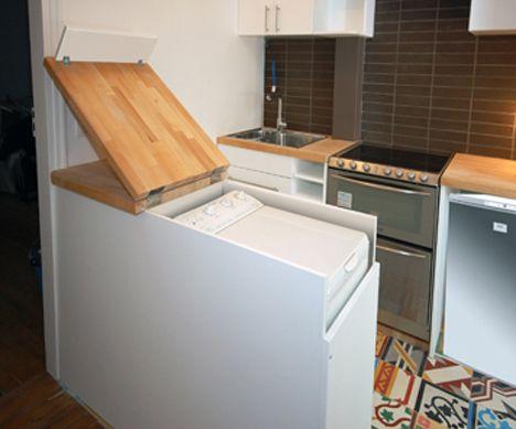 Nobody ever thinks to hide appliances in plain site - kitchen washing machine hidden in counter.
