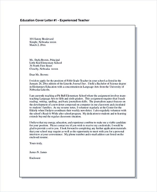 Education Cover Letter For Experienced Teacher Teaching Cover Letter Examples For Success Teaching Cover Letter Teacher Cover Letter Example Job Cover Letter