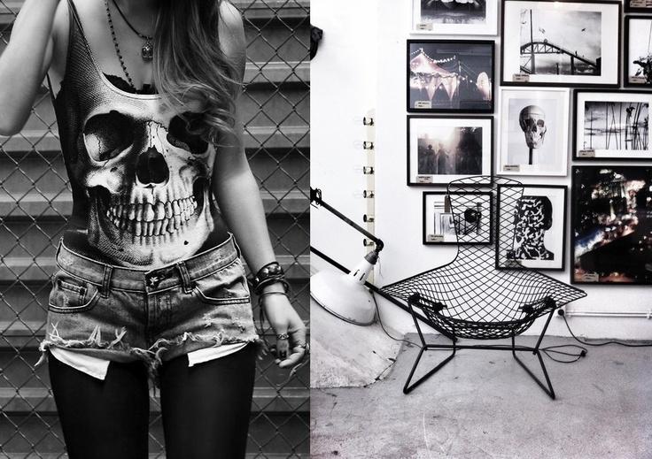 Punk style interior. Skull girl. Quad roller skates.