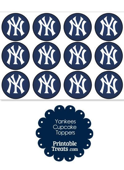 Printable Yankees Logo Cupcake Toppers From