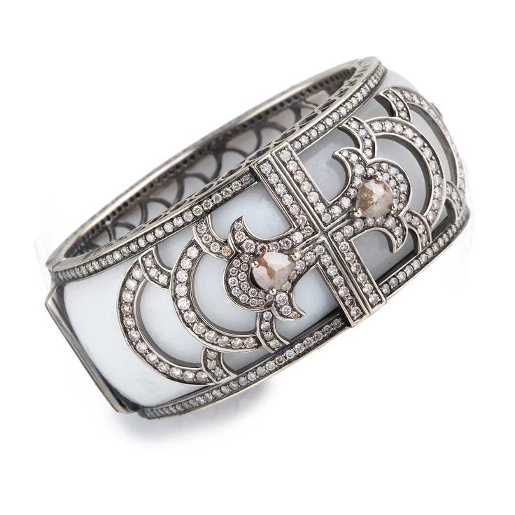 White Jade and Diamond Cuff Bracelet: Cuffs Bracelets, Diamonds Galleries, En Vogue, Diamonds Cuffs, White Jade, Jewelry Bracelets, Jewelry Accessories, Cuffs Bangles Bracelets, Cuffs Diamondjewelri