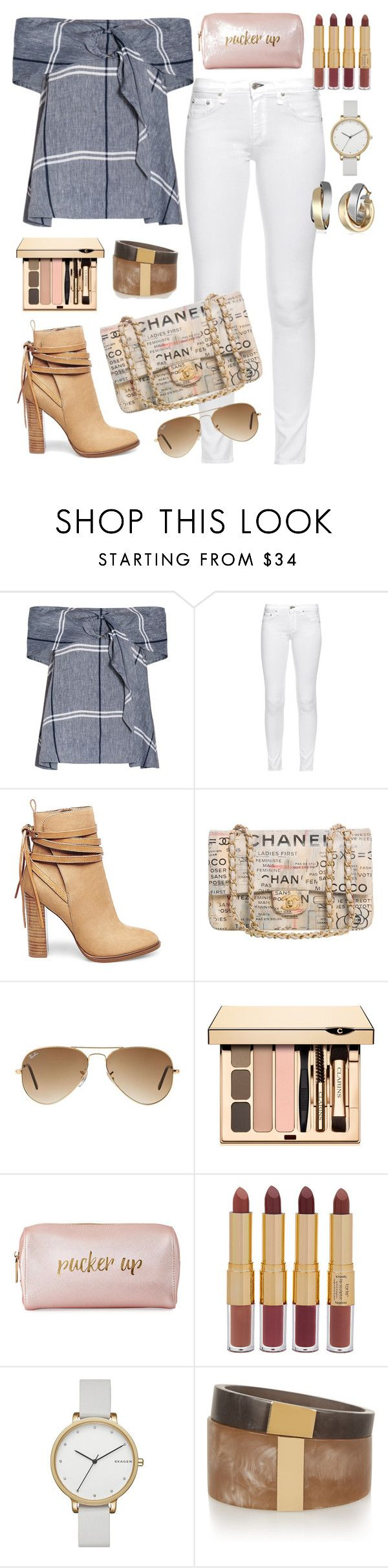 """Pucker up"" by kathy-15 ❤ liked on Polyvore featuring SUNO New York, rag & bone, Steve Madden, Chanel, Ray-Ban, Neiman Marcus, tarte, Skagen and Isabel Marant"