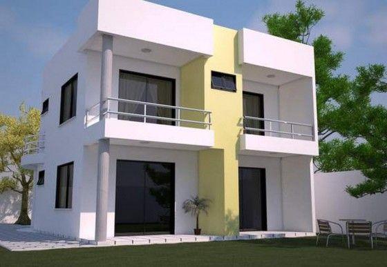 fachada posterior de casa de dos pisos moderna fachadas
