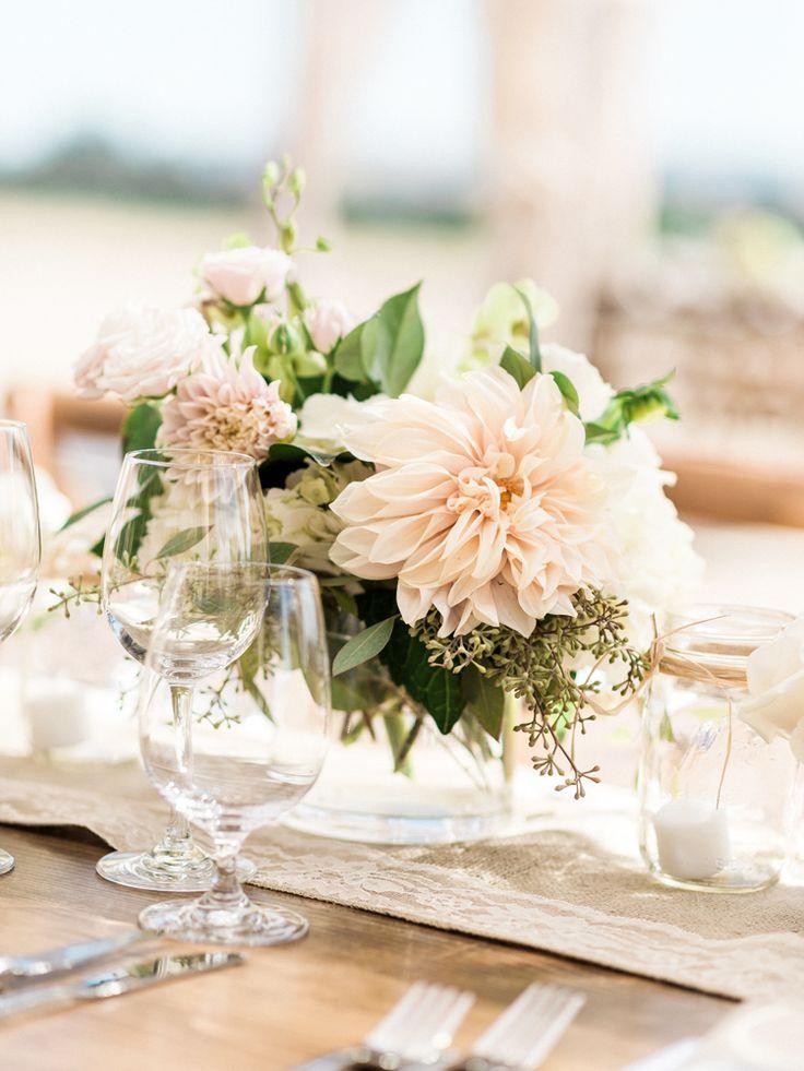 Cafe au lait Dahlias wedding centerpieces | Auberge Du Soleil Wedding