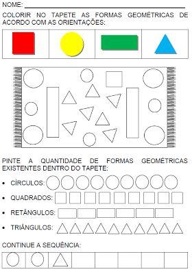 ATIVIDADES PARA EDUCADORES: 1º Ano - Atividades com figuras geométricas planas...
