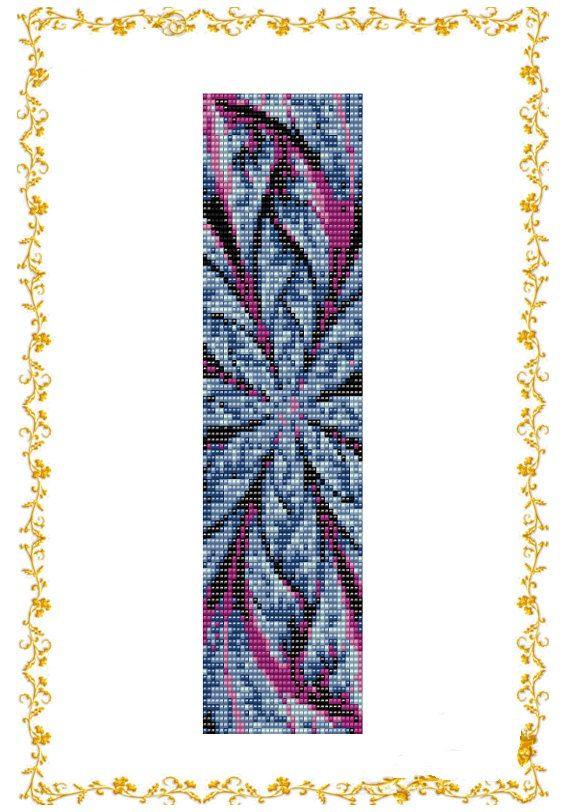 Loom beading pattern Bracelet cuff Abstract Flower. by HoneyPear