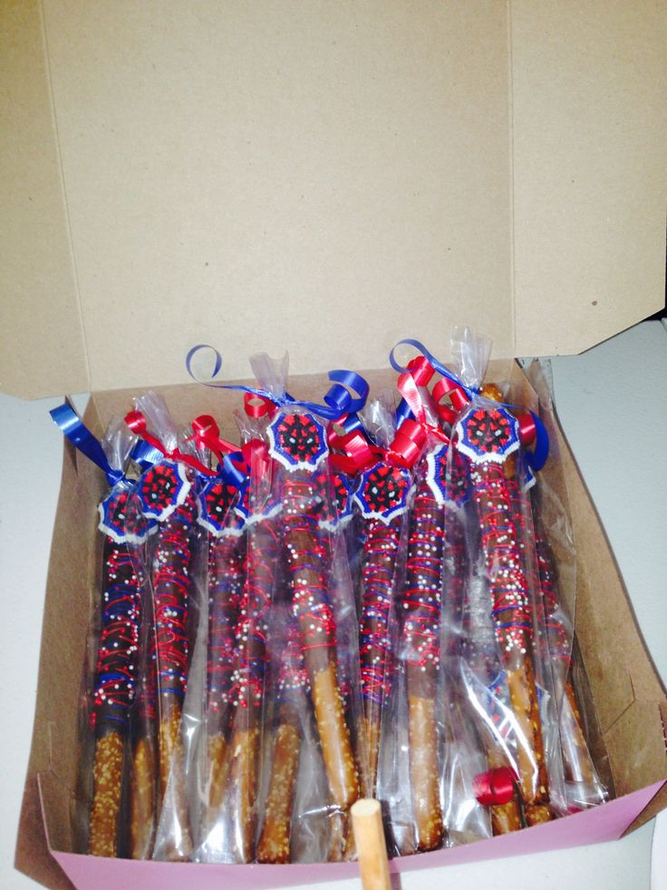 Chocolate covered pretzels for spiderman theme party