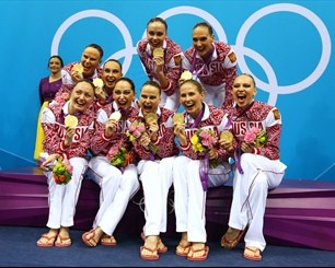 Russia's Women's Synchronised Swimming team retains its Gold Medal standing