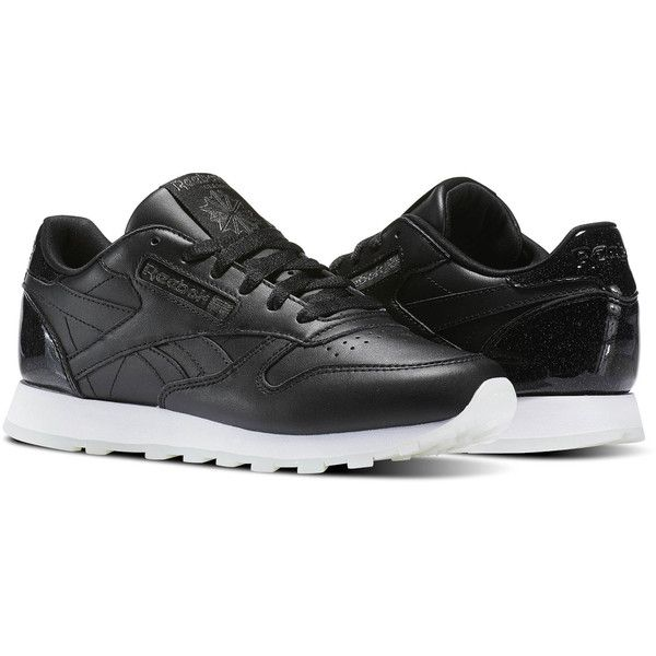 Reebok Classic Leather L ($85) ❤ liked on Polyvore featuring shoes, leather footwear, metallic shoes, traction shoes, reebok shoes and leather upper shoes