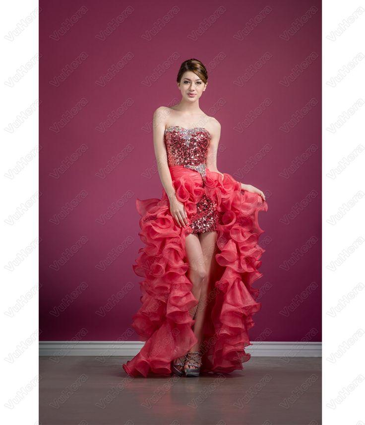 Watermelon Sequin & Chiffon High-Low Prom Dress