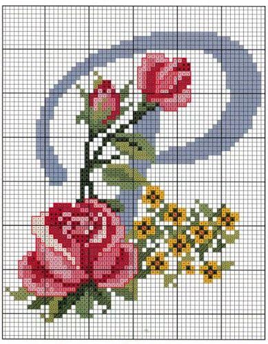 Monogramas de Flores  em Ponto Cruz.