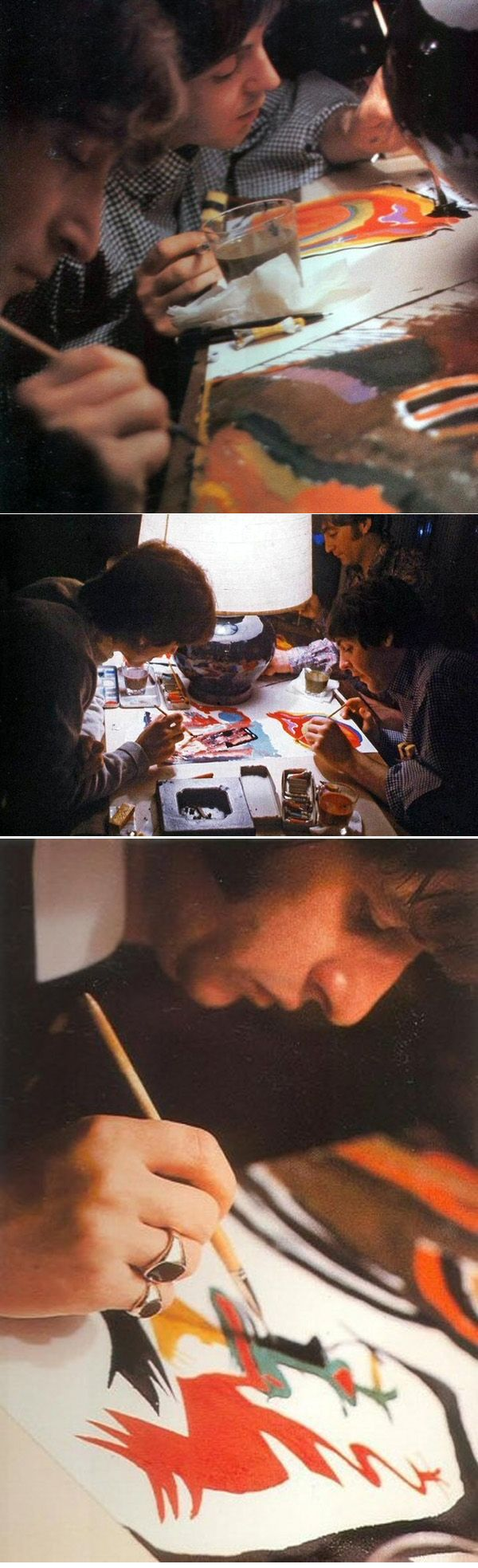 The Beatles, painting together in Japan, when they were barricaded in the hotel and the Japanese officials wouldn't let them out