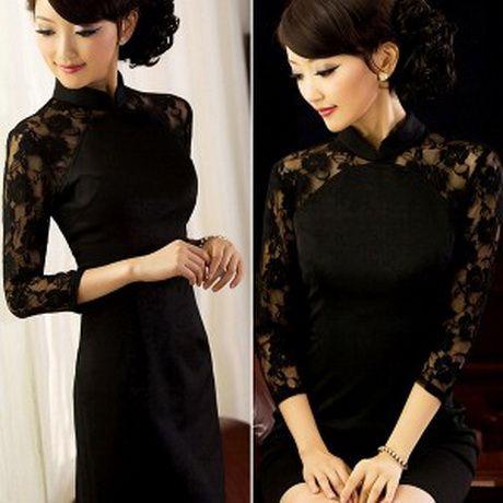 Robe chinoise (Qipao) noire dentelle manches longues. Envoyer à un ami; Imprimer; Agrandir. Description d