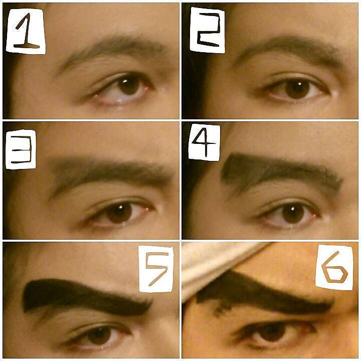 AVDOL EYEBROWS TUTORIAL YAY(???)  You will need: Black eyeshadow black eyebrow pencil & black eyeliner!!! ((And possibly makeup wipes if you go a little wrong)) Picture 1: Normal brows!! I put foundation over the top on the skin so it isn't blehh and blotchy Picture 2: Furrow your brows and see how low you need to draw your ferocious slugs it's fun doing this bwahahah I marked it with black eye-shadow but you could do it with eyebrow pencil too o3o Picture 3: Shade roughly the shape of your…