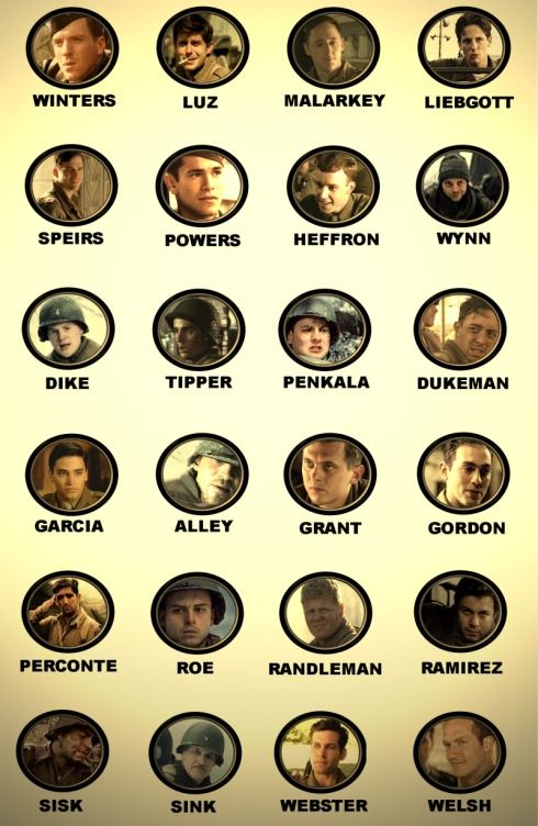 The actors who played the men of Easy Company…ha, I needed this at the beginning of the movie. :)