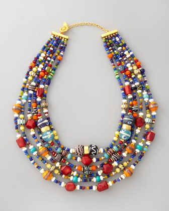 Multicolor Beaded Necklace by Jose & Maria Barrera at Neiman Marcus.