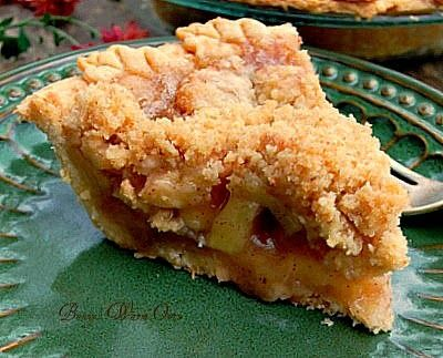 Delicious Dutch Apple Pie... I love this pie, the crust is flaky buttery and delicious, the apple filling is just perfect and the crumb topping is ...well it's my favorite way to eat apple pie!