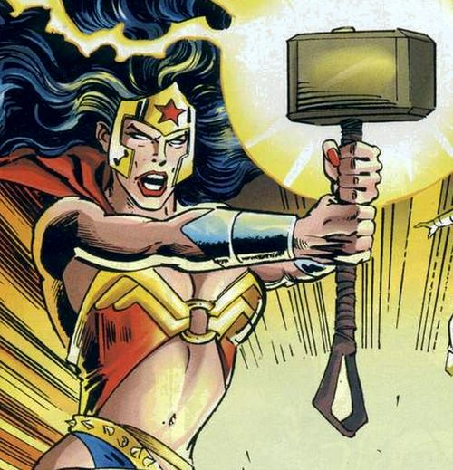 Fun Fact: In the Marvel vs DC crossover it was established that Wonder Woman is in fact Worthy of wielding the hammer of Thor. And then she put it down, because she thought it would be unworthy of her to take advantage of its power. Wonder Woman's standards are higher than Mjolnir's. IF THE HAMMER THINKS SHES WORTHY WHY DON'T THE MARKETING EXECS. marketing execs are dumber than hammers, apparently