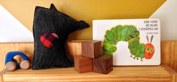 The Mini Minne Love Pillow by mplsmomma on Etsy #etsy #flannel #felt #minnesota #minneapolis #baby #toy #plaid #handmade