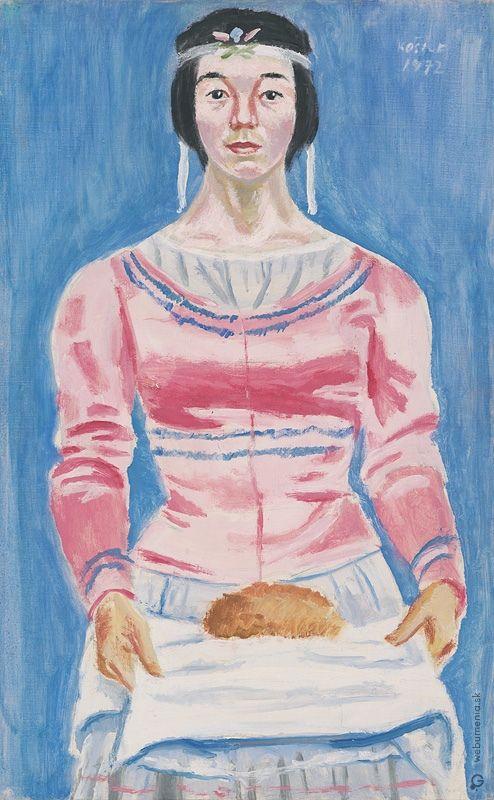 Ernest Zmeták: Young woman with bread /  Mladucha s chlebom:1972
