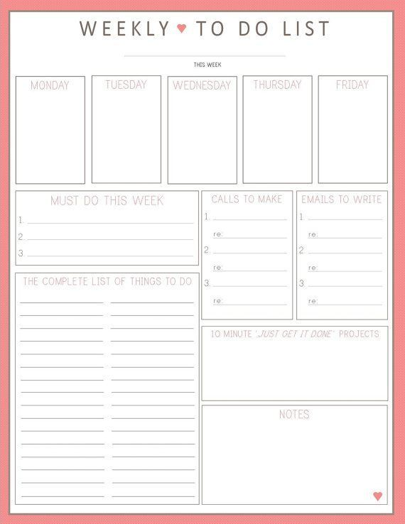 BEST TO DO LIST EVER!! Weekly To Do List 1sheet PRINTable by ...