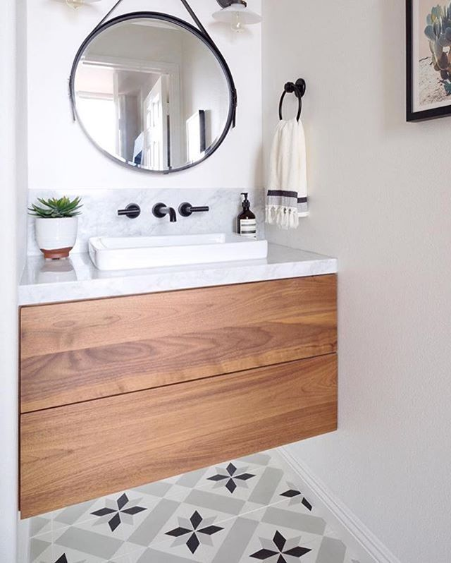 wall-mounted faucet for more counter top space, floating vanity with storage