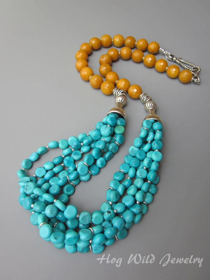 Multi Strand Turquoise with Mustard Jade and Sterling Silver Necklace. $248.00, via Etsy.