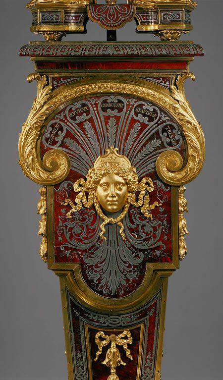 Louis Quatorze: Detail, Clock with pedestal, c. 1690. Clock Movement by Jacques II Thuret, case by André-Charles Boulle