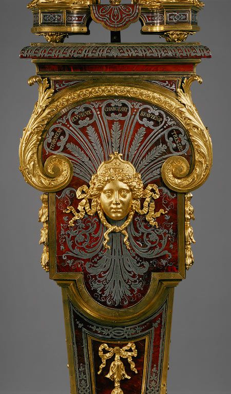 Louis Quatorze: Detail, Clock with pedestal, c. 1690. Clock Movement by Jacques II Thuret, case by André-Charles Boulle
